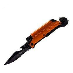 Nóż składany Kandar orange z latarką i krzesiwem